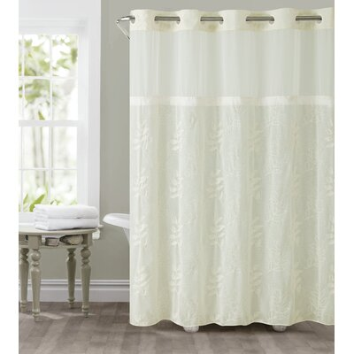 Palm Leaves Shower Curtain Color: Ivory