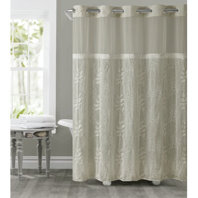 Palm Leaves Shower Curtain Color: Tan
