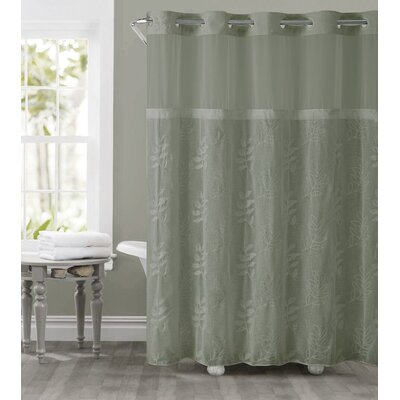 Palm Leaves Shower Curtain Color: Moss Green
