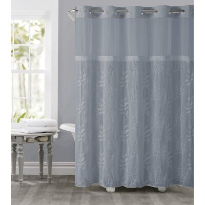 Palm Leaves Shower Curtain Color: Dusty Blue
