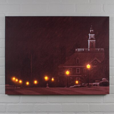 Lighted Small Town Framed Photographic Print on Canvas