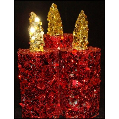 3 Piece Sequined LED Flameless Christmas Candle Set