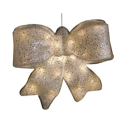 Glittered Battery Operated Lighted LED Bow Christmas Decoration Color: Silver