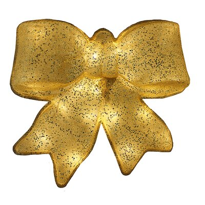 Glittered Battery Operated Lighted LED Bow Christmas Decoration Color: Gold