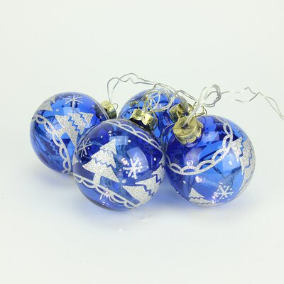 Battery Operated Blue Glass Ball LED Lighted Christmas Ornament