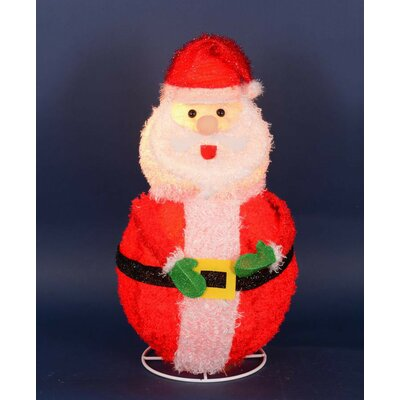 Lighted 3-D Chenille Jolly Santa Claus Outdoor Christmas Decoration