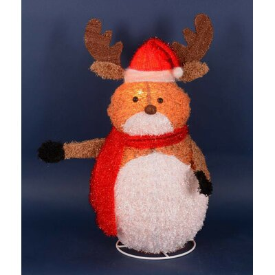 Lighted 3-D Chenille Reindeer with Santa Hat Outdoor Christmas Decoration