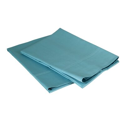 300 Thread Count Cotton Sateen Pillowcase Set Size: Standard / Queen, Color: Turquoise