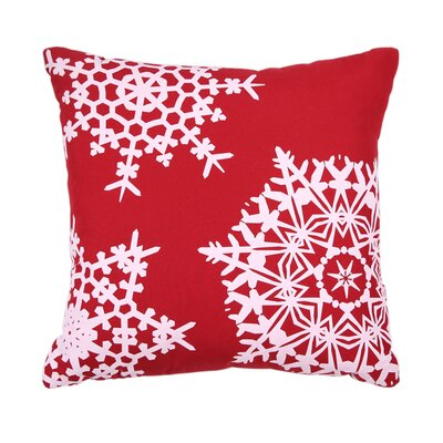 Holiday Embroidered Throw Pillow Color: Red Snowflake