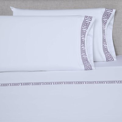 600 Thread Count Cotton Sheet Set Size: King, Color: White/Eggplant