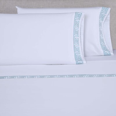 600 Thread Count Cotton Sheet Set Size: Queen, Color: White/Blue Green