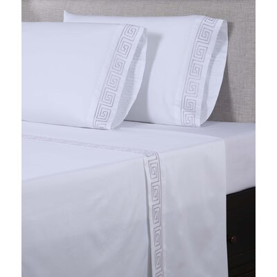 600 Thread Count Cotton Sheet Set Size: King, Color: White/Purple Grey