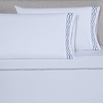 600 Thread Count Cotton Sheet Set Color: White/Blue, Size: King