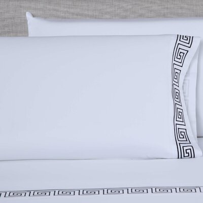 600 Thread Count Embroidered Pillowcase Color: White/Black, Size: King