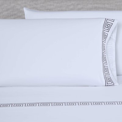 600 Thread Count Embroidered Pillowcase Color: White/Slate Grey, Size: King