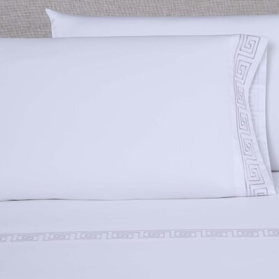 600 Thread Count Embroidered Pillowcase Size: Queen, Color: White/Purple Grey