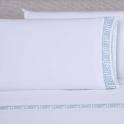 600 Thread Count Embroidered Pillowcase Size: Queen, Color: White/Blue Green