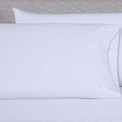 600 Thread Count Embroidered Pillowcase Color: White/White, Size: King