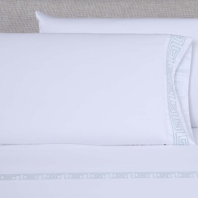 600 Thread Count Embroidered Pillowcase Color: White/Spa Blue, Size: King