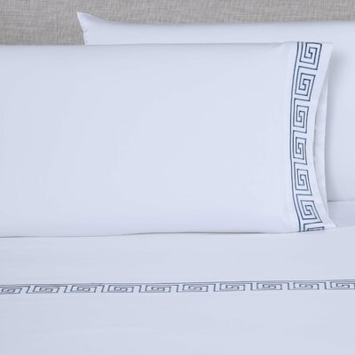 Raju 600 Thread Count Embroidered Pillowcase Size: King, Color: White/Blue