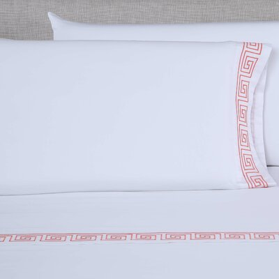 600 Thread Count Embroidered Pillowcase Color: White/Desert Rose, Size: King