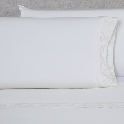 Raju 600 Thread Count Embroidered Pillowcase Size: Queen, Color: Ivory/Ivory