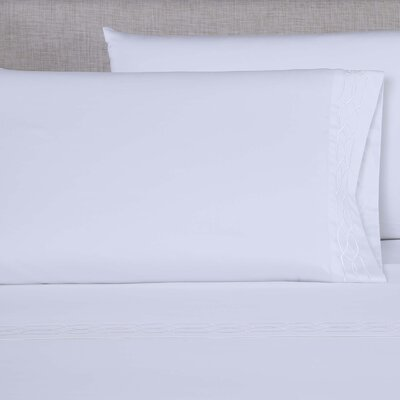 600 Thread Count Embroidered Pillowcase Size: Queen, Color: White/White
