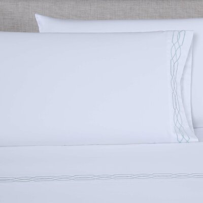 600 Thread Count Embroidered Pillowcase Color: White/Spa Blue, Size: Queen