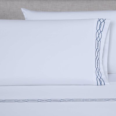 600 Thread Count Embroidered Pillowcase Color: White/Blue, Size: Queen