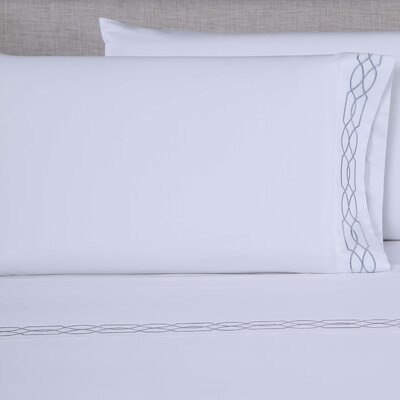 600 Thread Count Embroidered Pillowcase Size: Queen, Color: White/Silver