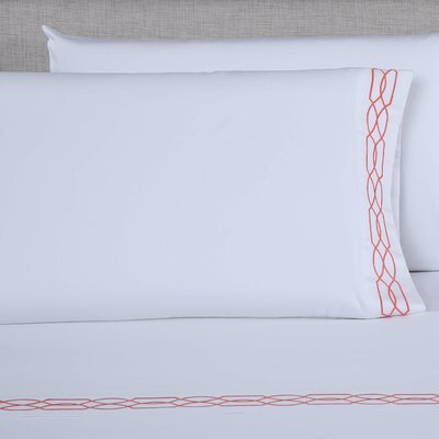 600 Thread Count Embroidered Pillowcase Size: King, Color: White/Desert Rose