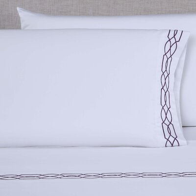 600 Thread Count Embroidered Pillowcase Color: White/Eggplant, Size: Queen