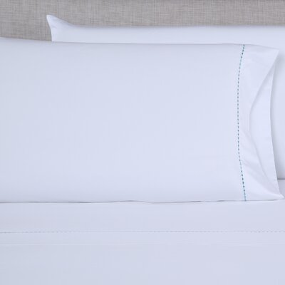 600 Thread Count Embroidered Pillowcase Size: King, Color: White/Blue Green