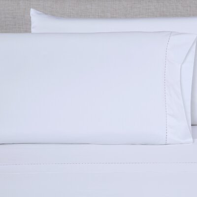 600 Thread Count Embroidered Pillowcase Size: King, Color: White/Purple Grey