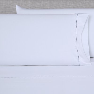 600 Thread Count Embroidered Pillowcase Size: King, Color: White/Blue