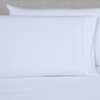 600 Thread Count Embroidered Pillowcase Size: King, Color: White/Spa Blue