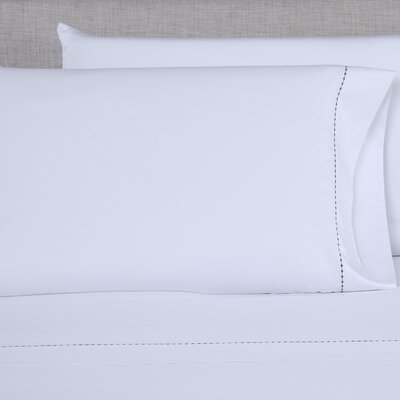 600 Thread Count Embroidered Pillowcase Color: White/Hunter Green, Size: Queen