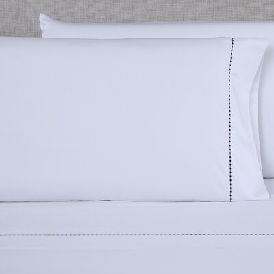 600 Thread Count Embroidered Pillowcase Size: King, Color: White/Black