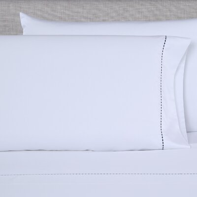 600 Thread Count Embroidered Pillowcase Color: White/Navy, Size: Queen