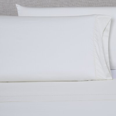 600 Thread Count Embroidered Pillowcase Size: King, Color: Ivory/Ivory