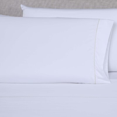 600 Thread Count Embroidered Pillowcase Color: White/Light Green, Size: Queen