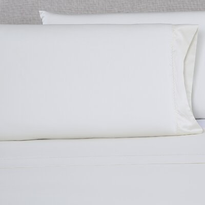 600 Thread Count Embroidered Pillowcase Color: Ivory/Ivory, Size: Queen