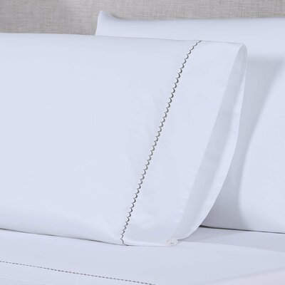 600 Thread Count Embroidered Pillowcase Size: King, Color: White/Hunter Green