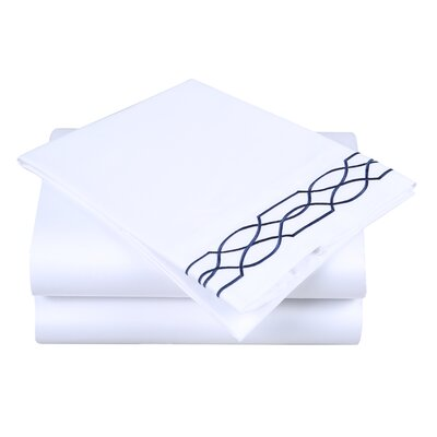 600 Thread Count Cotton Sheet Set Color: White/Navy, Size: King