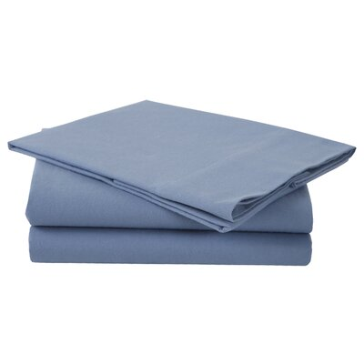 Combed Cotton Luxury Flannel Sheet Set Color: Arctic Blue, Size: Full