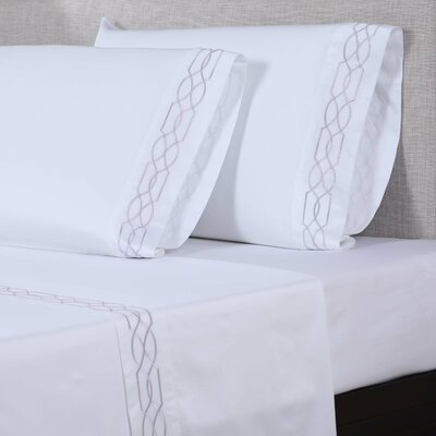 600 Thread Count Cotton Sheet Set Color: White/Purple Grey, Size: King