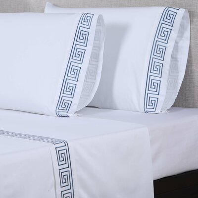 600 Thread Count Cotton Sheet Set Size: King, Color: White/Blue
