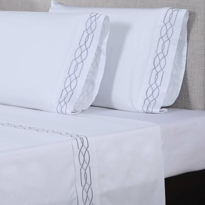 600 Thread Count Cotton Sheet Set Size: King, Color: White/Silver