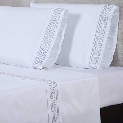 600 Thread Count Cotton Sheet Set Size: Queen, Color: White/Silver