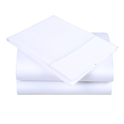 600 Thread Count Cotton Sheet Set Size: Queen, Color: White/Spa Blue